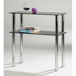 Hudson Black Glass & Chrome Side Table & Entertainment Stand