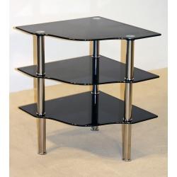 Kansas Three Shelf Black Glass Corner Stand