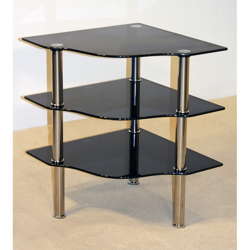 Corner Exhibition Stands Tallahassee : Kansas three shelf black glass corner display tv