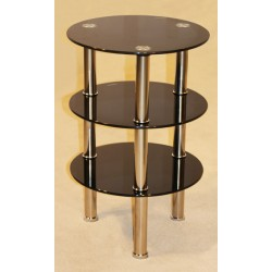 Kansas Three Shelf Round Black Glass Display Stand - Side End Lamp Coffee Table