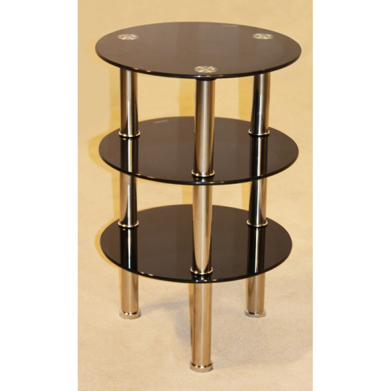 Kansas Three Shelf Round Black Glass Display Stand Side