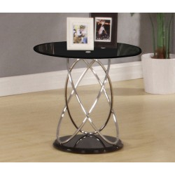 Eclipse Black Glass Lamp Side End Table With Chrome Spiral Frame