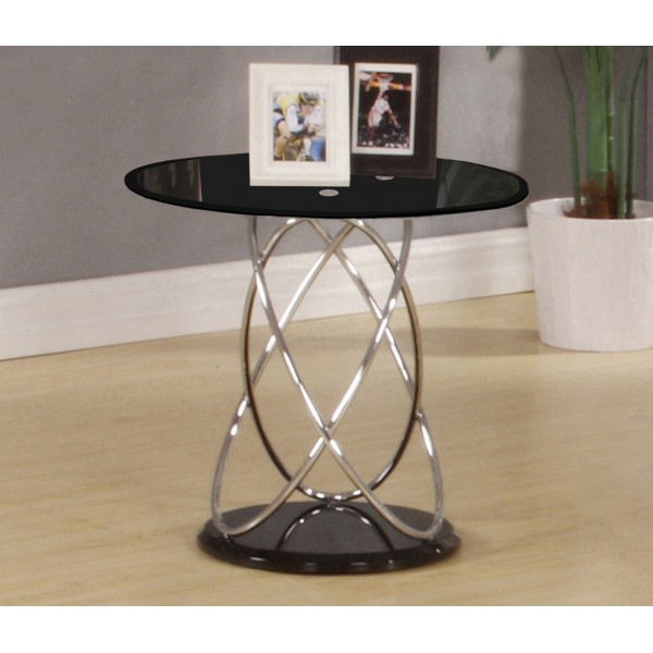 Eclipse Black Glass Lamp Table With Chrome Spiral Frame