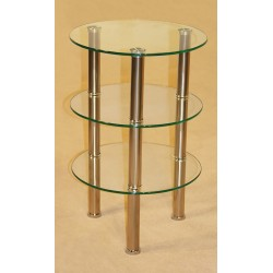 Kansas Three Shelf Round Shape Clear Glass Stand
