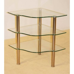 Kansas Three Shelf Clear Glass Corner Display TV & Entertainment Stand