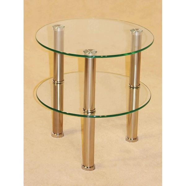 Kansas Clear Glass Round Two Shelf Stand