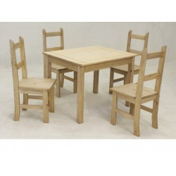 Coba Mexican Light Waxed Solid Pine Dining Kitchen Table with Four Chairs