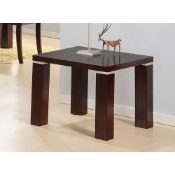 Spartan Solid Wood Side Lamp End Table - Mahogany Finish