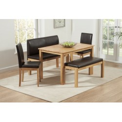 Hamra Dining Set with 2 Benches & 2 Chairs Natural Oak