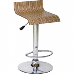 Two Striped Beech S Shaped Adjustable & Swivel Chrome Breakfast Bar Stools
