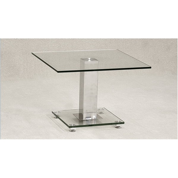 Ankara Clear Glass with Chrome Frame Lamp Table