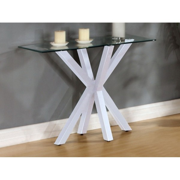 Langley Clear Glass Console Table with White Base