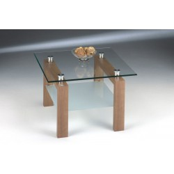 Adina Two Shelf Clear Glass & Oak Lamp Table