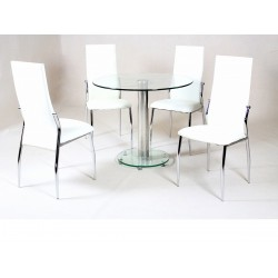 Alonza Clear Glass Round Dining Table with Four Cream Chairs