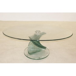 Cordoba Clear Glass Oval Coffee Table with Swivel Base