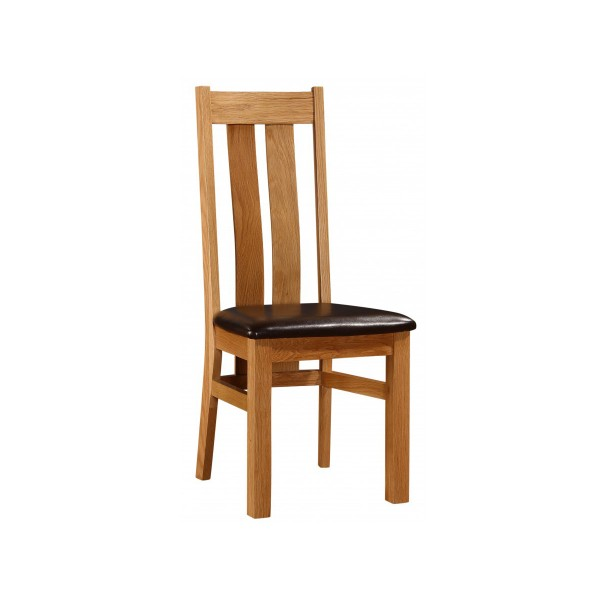 Cumbria Solid Oak Traditional Dining Chairs Natural Finish - Pack of Two
