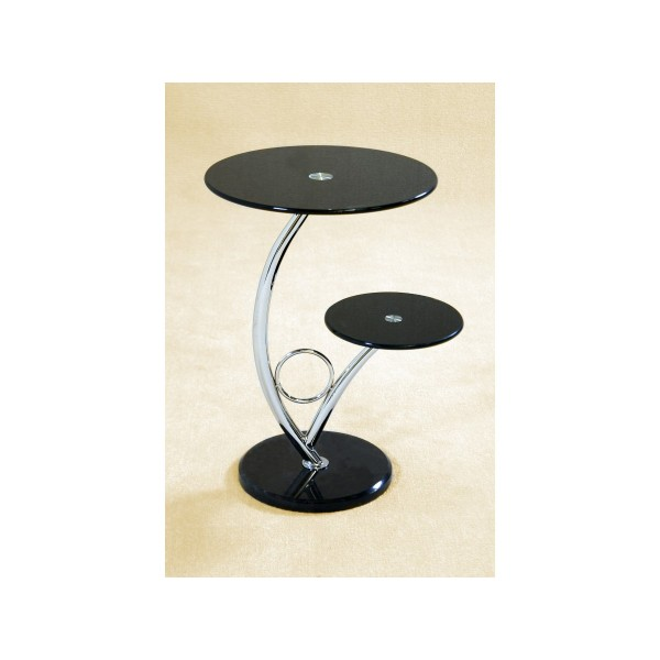 Hawaii Round Black Glass Display Unit with Marble Base (Sold in Pairs)