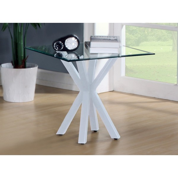 Langley Clear Glass Top White Base Lamp Side End Table