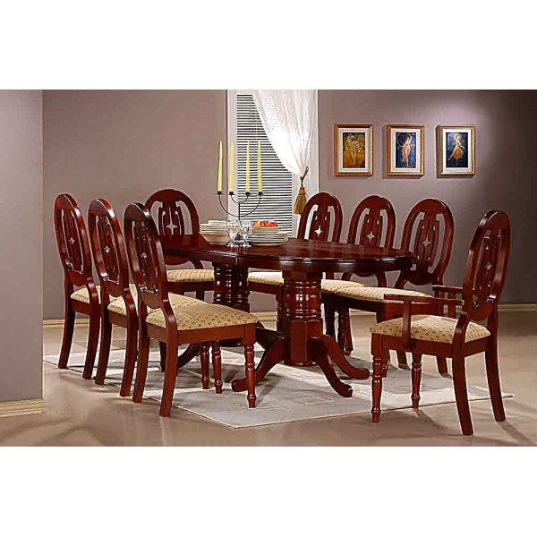 Moscow Large Mahogany Dining Table Set - Eight Chairs