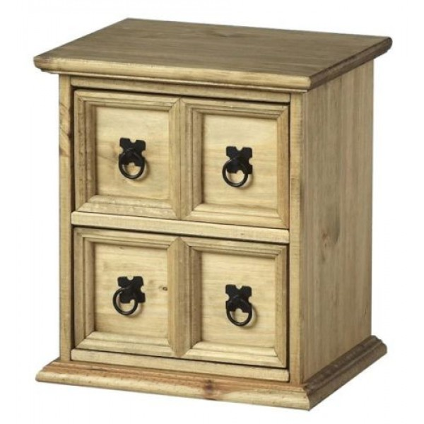 Corona Distressed Light Waxed Solid Pine Small Four Drawer CD Accesories Storage Unit