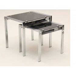 Kensington Black Glass Chrome Legs Nest of Tables