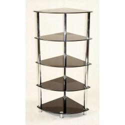 Cologne Black Glass 5 Tier Corner Rack