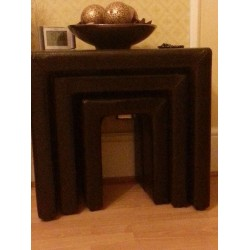 Odessa Brown Faux Leather Nest of Tables