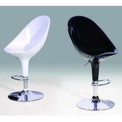 Two Retro White or Black Chrome Breakfast Bar Stools
