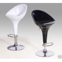 Two Adjustable & Swivel Seat Breakfast Bar Stools (Black or White)