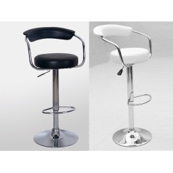 Two Adjustable & Swivel PVC Breakfast Bar Stools with Back Support - Black or White