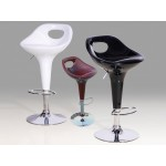 Two Adjustable Chrome Breakfast Bar Stools (Red Wine)