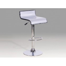 Two S Shaped Adjustable & Swivel Chrome & Silver Breakfast Bar Stools