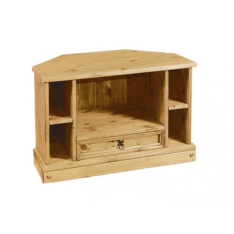 designer fashion 4dec2 57c7b Corona Distressed Solid Waxed Light Pine Corner TV Entertainment Cabinet
