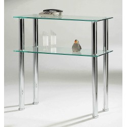 Hudson Clear Glass & Chrome Side Table & Entertainment Stand
