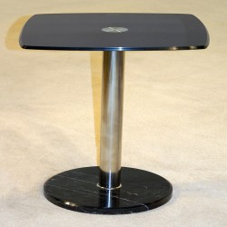 Orsett Black Glass Lamp & Side Table with Marble Base (Sold in Pairs)