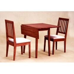 Swiss Drop Leaf Dining Table with Two Chairs - Mahogany Finish