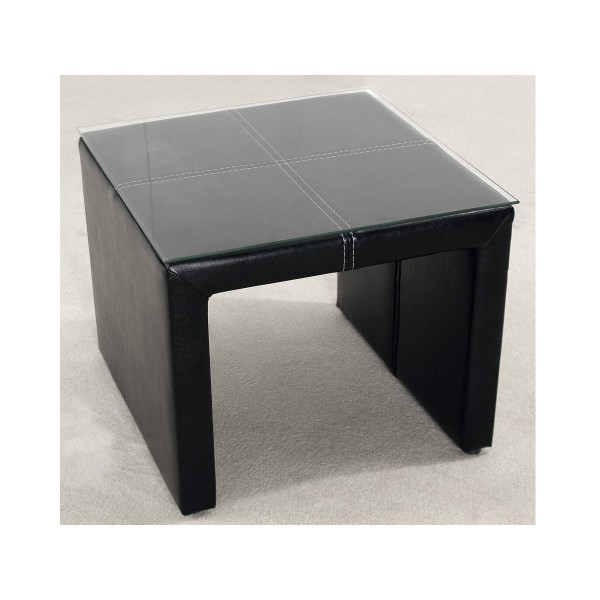 Two Black Odessa Faux Leather Lamp Table with Glass Top