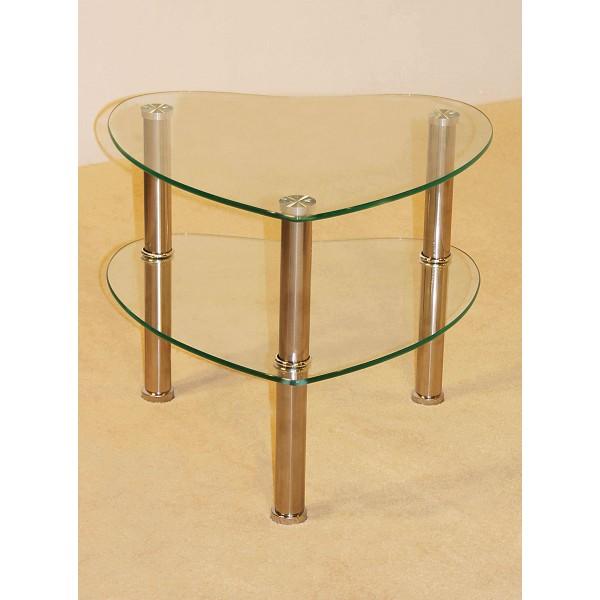 Kansas Two Shelf Heart Shape Clear Glass Display Stand - Lamp Side End Table
