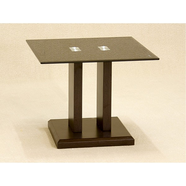 Troy Black Glass and Oak Frame Lamp Side End Table