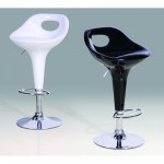 Two Adjustable Chrome Breakfast Bar Stools - White or Black