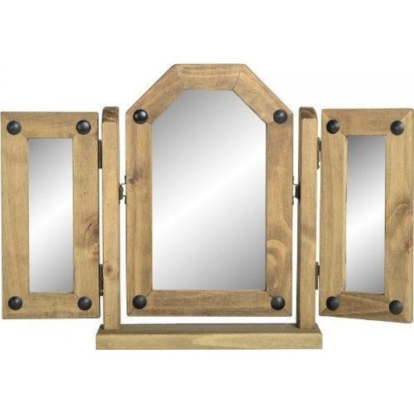 Corona Light Waxed Solid Pine Dressing Table Triple Vanity Mirror