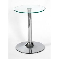 Two Drew Clear Glass with Chrome Base Lamp, Side, End, Coffee Table