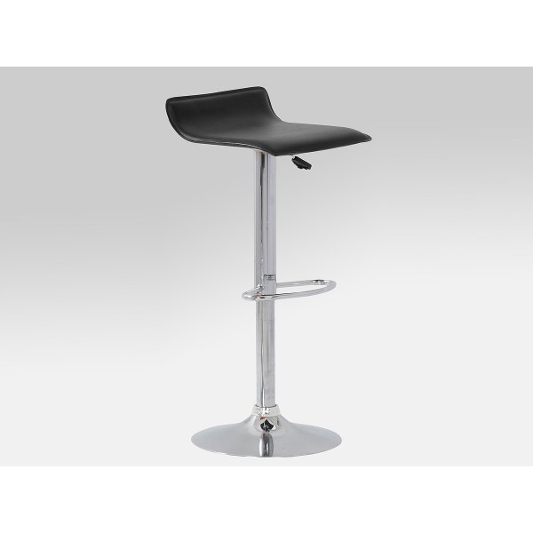 Two Adjustable Chrome & Black Leather Breakfast Bar Stools with Swivel Seat