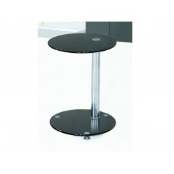 Conway Black Glass with Chrome Lamp, Side, End Table