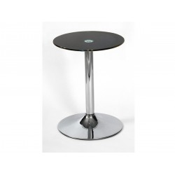 Drew Black Glass with Chrome Base Lamp, Side, End Table