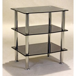 Hudson Black Glass Three Shelf Side Table -TV, Hi-Fi,Console, Dvd Stand