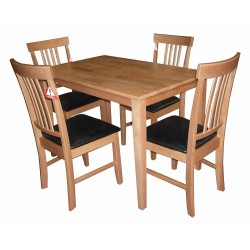 Massa Dining Table with Four Chairs - Oak Finish