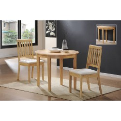 Lunar Folding & Extending Round Dining Table with Two Chairs - Natural Finish