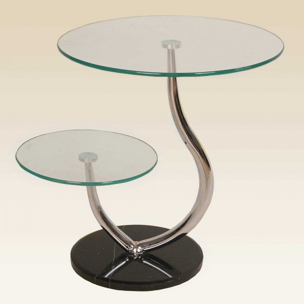 Oxshott Two Shelf Round Clear Glass Display Unit with Marble Base (sold in pairs)