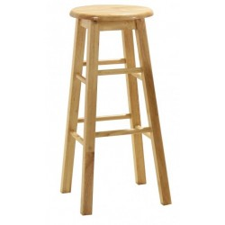 Two Wooden Bar Stools Natural Finish